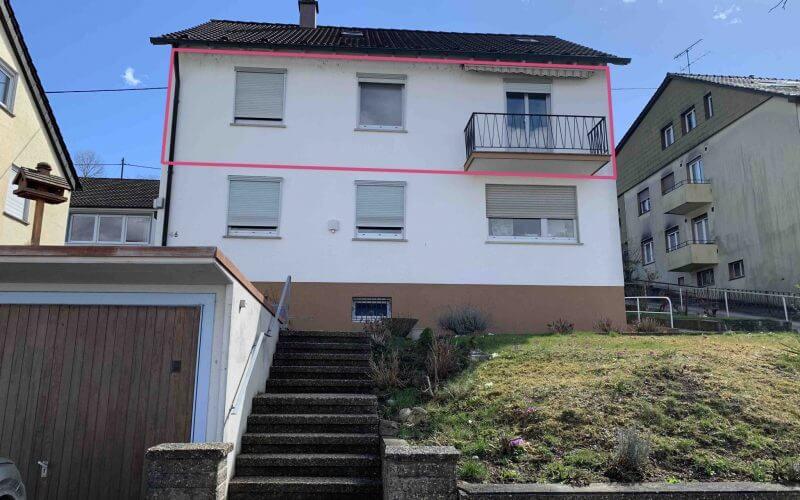 3-Zi.-Wohnung im 1.OG, 2 Balkone, Garage