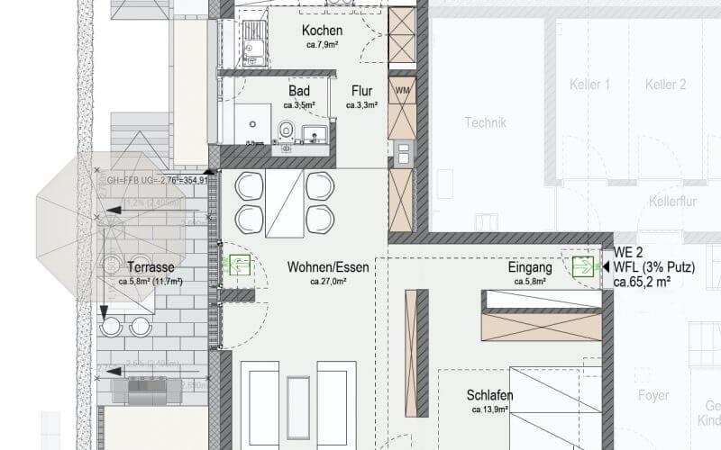 Erstbezug nach Kernsanierung / offen gestaltetes Wohnen / Terrasse / 1 Stellplatz